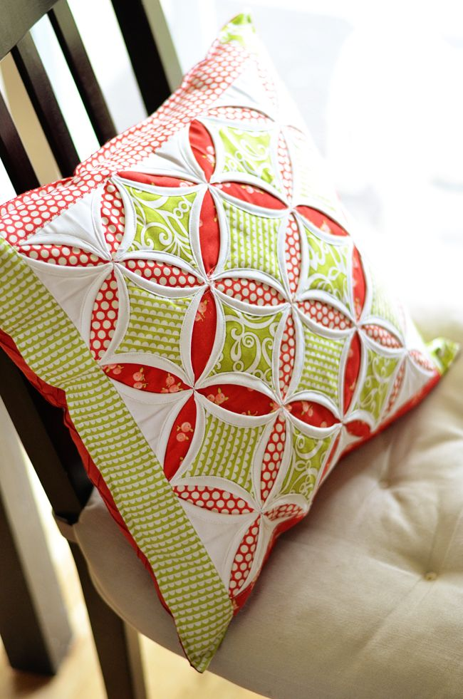 Cathedral Windows pillow by April Rosenthal.  Based on the tutorial by Angela Nash at Moda Bakeshop.