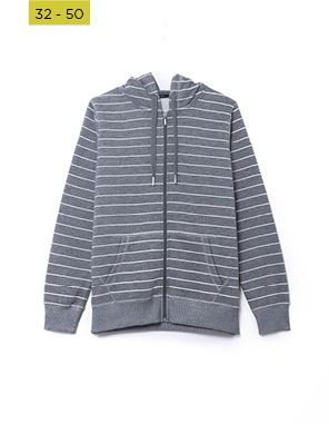 striped charcoal brushed fleece hoodie