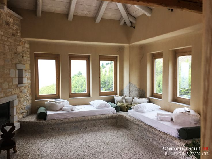 Bedrooms _ interior design | stone | holiday house | Pelion | Skiathos | fireplace _ visit us at: www.philippitzis.gr