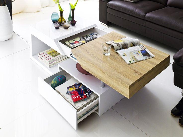 table basse design blanc laqu et bois chne spring royale deco - Table De Salon Blanc Laque