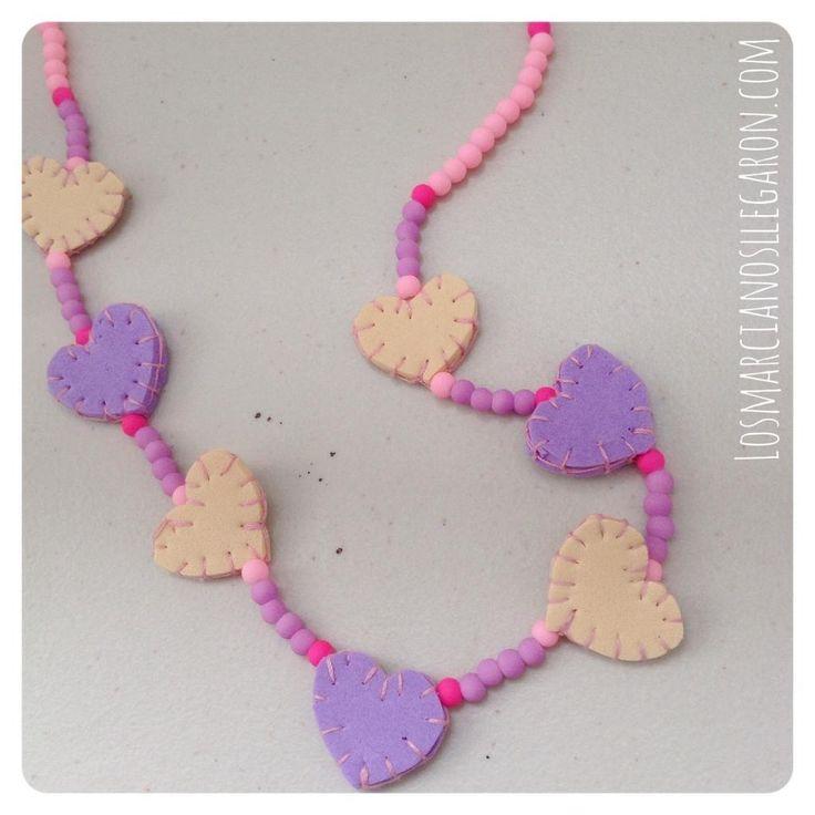 Accesorios para niñas: #Collar de #corazones en #Foami #EVAfoam #DIY #Bisuteria  #Jewelry