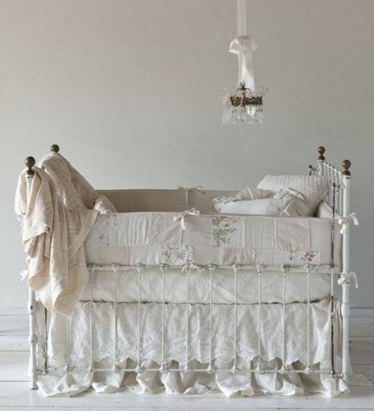 this is simply beautiful....if i'd ever had a daughter i'd have had something like this and been soooo content until i brought her home and had to deal with the first time she spewed all over these lovely linens!