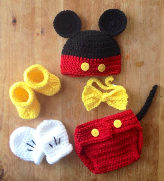 Crochet Newborn Mickey Mouse Diaper Cover set by BellaBeansCrochet