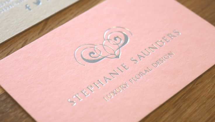 Stephanie Saunders Flowers, Luxury Floral Design, Business Stationery, Business Cards, Foil Print, soft pink. By Leaff Design, Worcester UK.