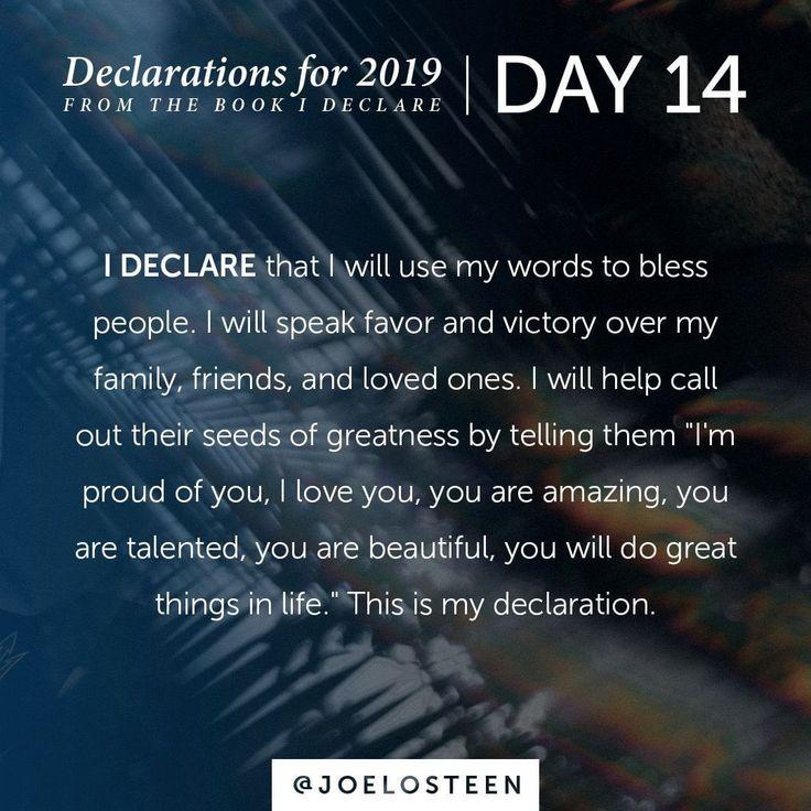 "Joel Osteen on Instagram: ""Declarations for 2019 | Day 14⠀ – – -⠀ I will s… – Scott Dunlop"