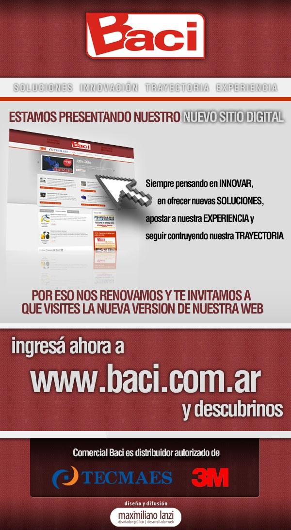 Campaña Email Marketing para lanzamiento sitio nuevo de Baci.  www.baci.com.ar