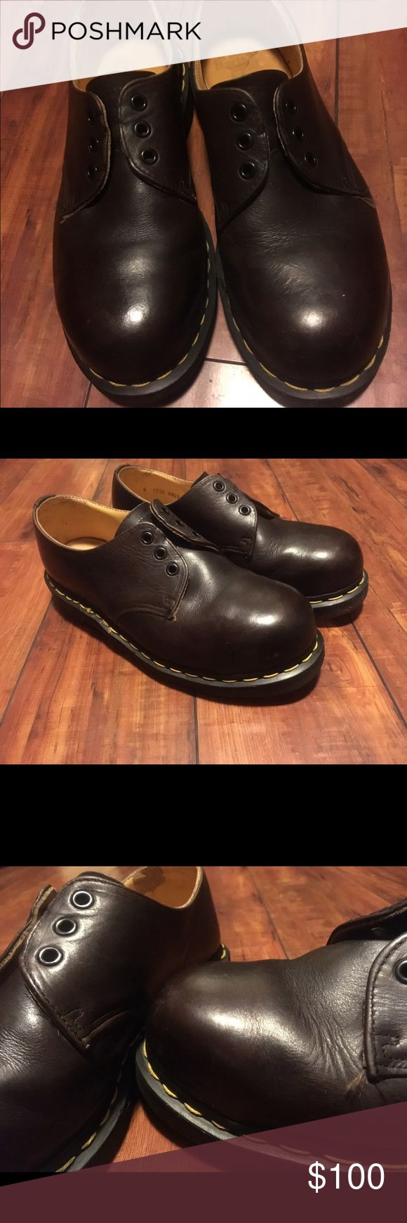 Steel Toe Doc Martens! Vintage England These are so amazing!  Vintage, made in England, the real deal! Steel toe originals are hard to find, so don't miss out! These are some sweet shoes! Dark brown, good shape. Newly polished and ready to wear. Dr. Martens Shoes Oxfords & Derbys