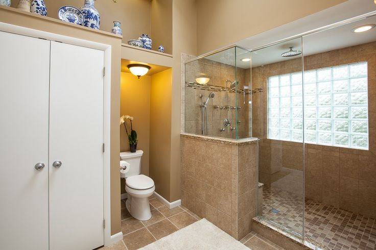 Large Walk In Shower With Glass Block Window Master