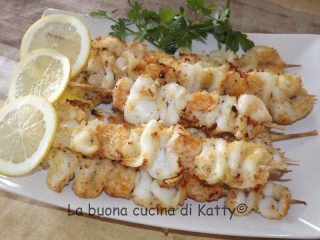 La buona cucina di Katty: Spiedini di calamari e gamberi alla griglia