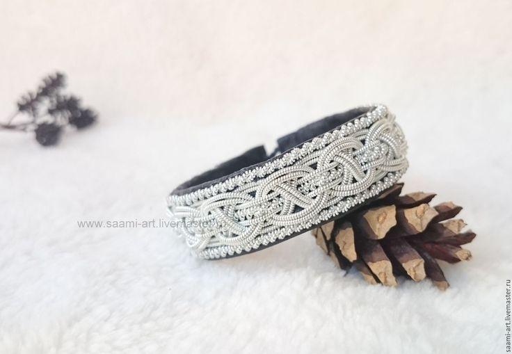 """Скандинавский шведский кожаный браслет """"Лагерта"""" - черный, шведский браслет, скандинавский браслет"""