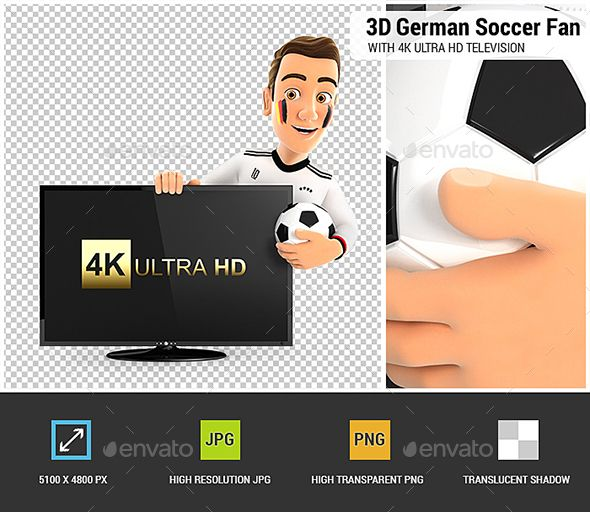 3d German Soccer Fan With 4k Ultra Hd Television Soccer Fans Soccer Graphic Design Templates