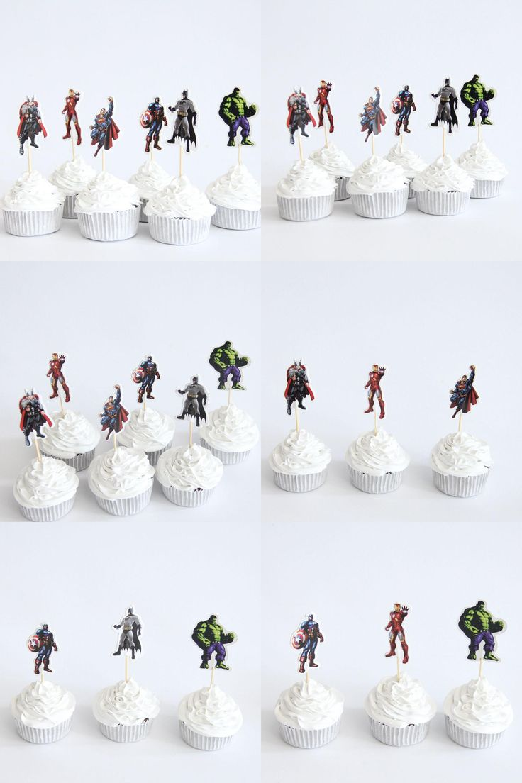 [Visit to Buy] 24pcs/lot The Avengers Captain America Heros Theme Party Supplies Cartoon Cupcake Topper Kids Boy Birthday Party Decorations #Advertisement