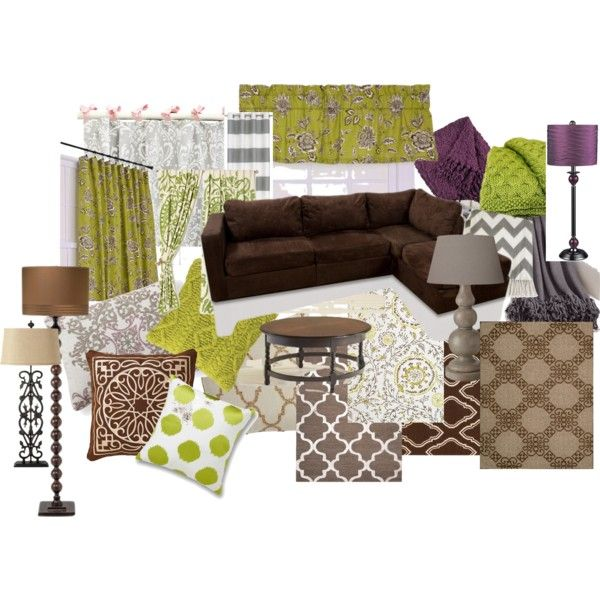 Warm Living Room Ideas- color scheme brown, green, purple, gray, black, taupe.