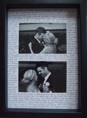 First dance lyrics and photos....very good idea
