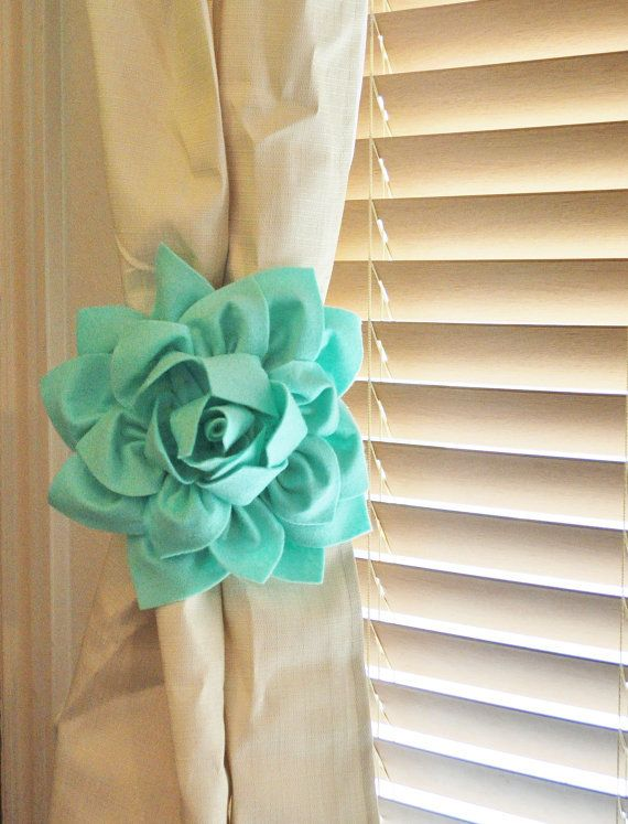 TWO Dahlia Flower Curtain Tie Backs Curtain Tiebacks Curtain Holdback -Drapery Tieback-Baby Nursery Decor- Mint Green Decor on Wanelo