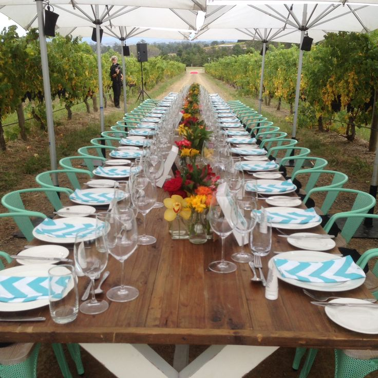 Corporate Lunch setting among our Autumn vines at Rochford Wines