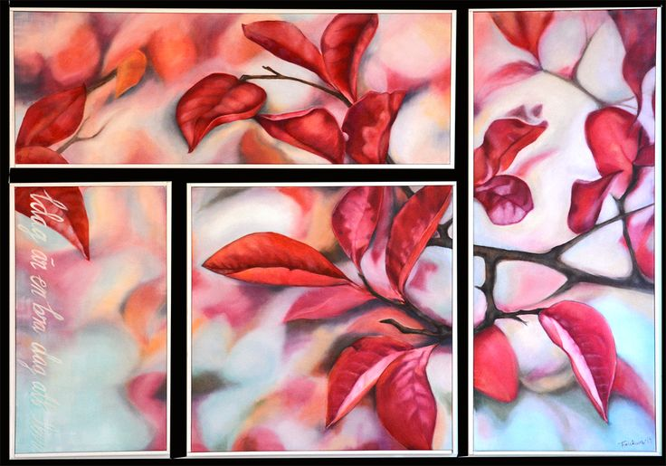 """Title: """"Röda blad"""" (Red leafs) Oilpainting - one picture divided into four - hanging together."""