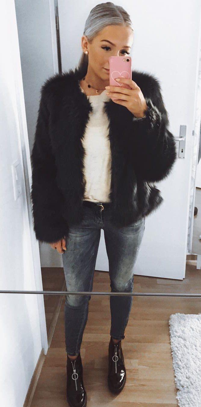 fall  outfits women s black fur coat 53787d70f