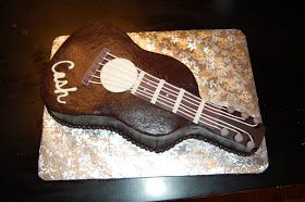 My 1st guitar cake,I cut this from a 3/4 sheet cake I wish I would have made the neck longer but other than that I was pretty happy with it...