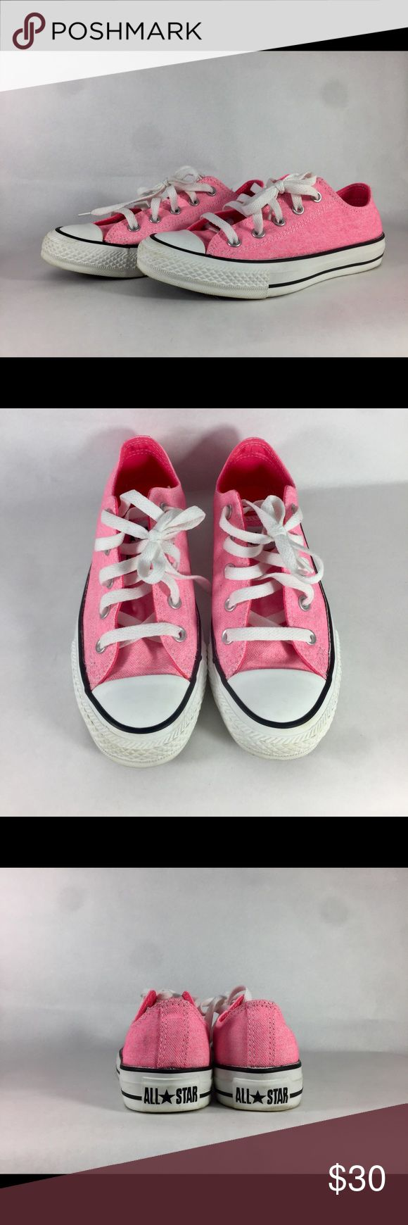Converse Neon Pink 🎆 Low Top Sneakers Converse neon pink 🌸 classic low top sneakers 👟 Comfort and support you expect from Converse 😌 Worn once or twice, easy to clean 🏃♀️ Color pops 🎆 looks great in black light. Treat yo self. Converse Shoes Sneakers