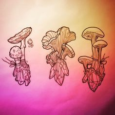 Mushroom Crystals tattoo designs by Katie Shocrylas