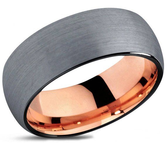 Mens Wedding Band, Rose Gold Wedding Ring, Tungsten Ring 10mm 18K, Engagement Ring, Promise Ring, Personalized, Gifts for Her, Gifts for Him – Anillos