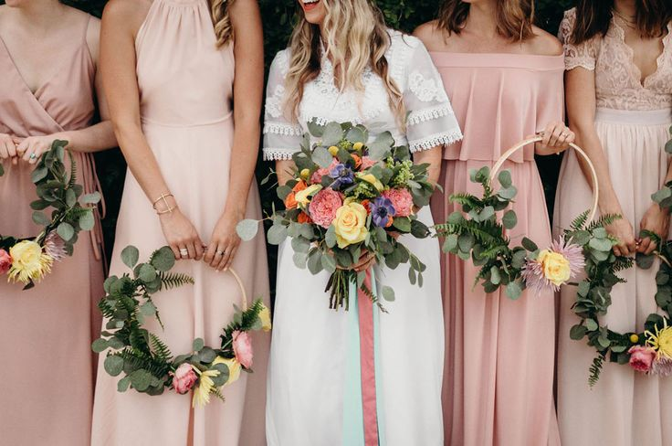 DIY Floral Hoop Bridesmaids