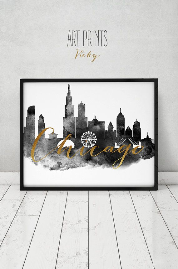 Chicago poster, black & white print, Chicago skyline, travel, faux gold text, Wall art, Illinois, city prints, Home decor, ArtPrintsVicky
