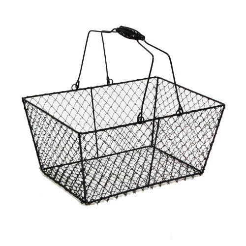 stella rectangular wire mesh basket with swing handle