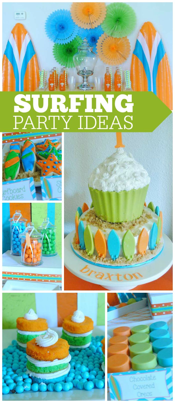Love this beach themed surf party in green, orange and aqua! See more party ideas at CatchMyParty.com!