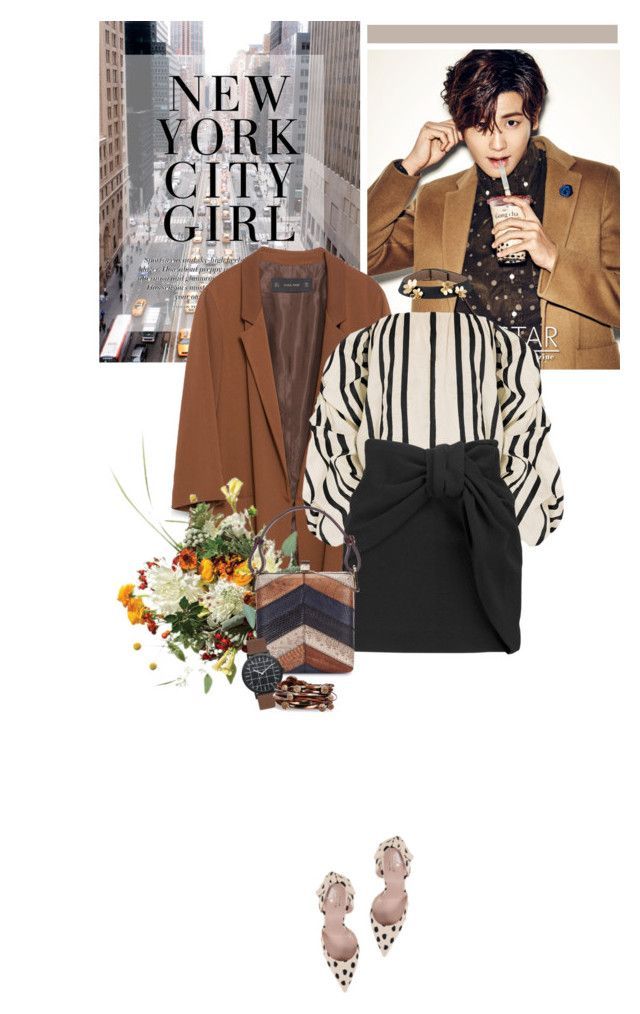 """nycg"" by daha-mk ❤ liked on Polyvore featuring H&M, Zara, Johanna Ortiz, Maje, Jill Haber, Kate Spade, Gillian Julius and Van Cleef & Arpels"