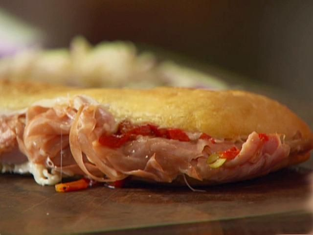 Ham and Mortadella Sandwich with Provolone and Pickled Hot Pepper Relish Recipe : Anne Burrell : Food Network