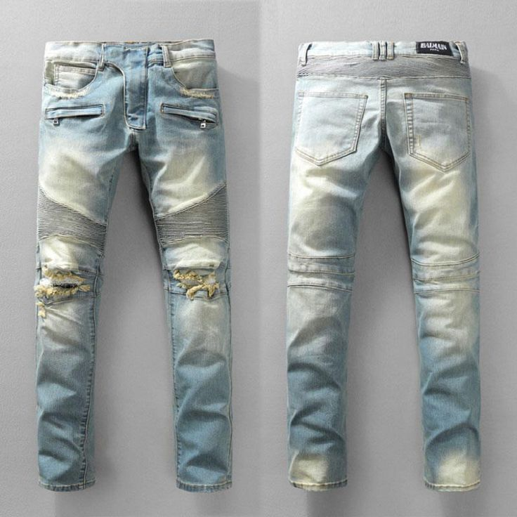 Distressed Brand France Fashion Pierre Balmain Jeans Men's Balmain Biker Jeans Hole Ripped Stretch Denim Balmai Casual Jean Men Skinny Pants
