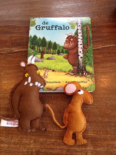Lovely hand made soft toys to play with while reading the book
