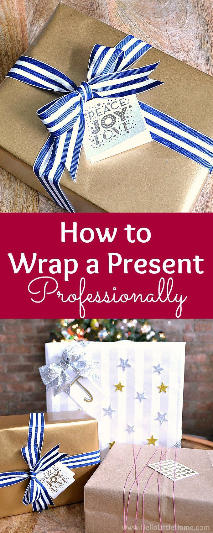 How to Wrap a Present Professionally ... with video! Wrap gifts like a pro with this easy tutorial that shows you how to wrap a present perfectly step by step. These easy gift wrapping tips work for any size box. Follow this simple present wrapping tutorial for beautifully wrapped presents every time. The best way to wrap a present! Plus, tips for wrapping oddly shaped gifts. | Hello Little Home #giftwrapping #giftwrap #giftwrappingideas #wrapping #wrappingideas #wrappingpresents