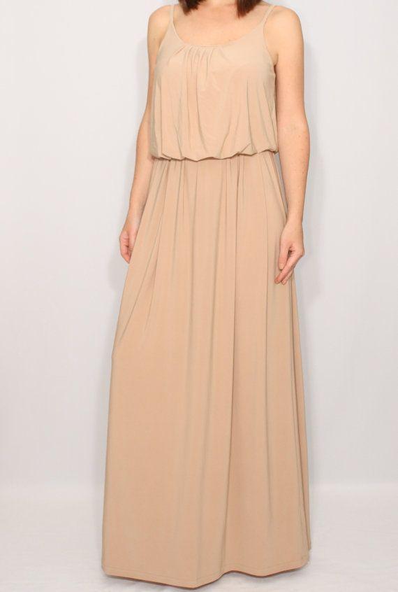 Beige bridesmaid dress Long nude dress Tan maxi dress by dresslike