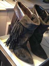 Nuevos zapatos de invierno ISABEL MARANT de la borla botas de gamuza franja oscura de la bota del tobillo cuero genuino del alto talón botines tamaño EUR 40(China (Mainland))