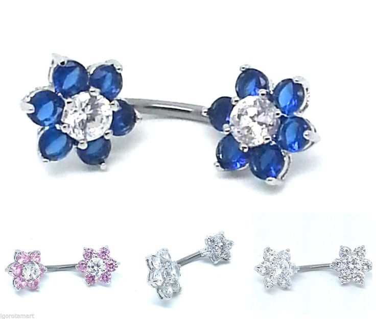 925 silver #double end flower barbell #steel bar belly navel ring body #piercing,  View more on the LINK: http://www.zeppy.io/product/gb/2/282206550609/
