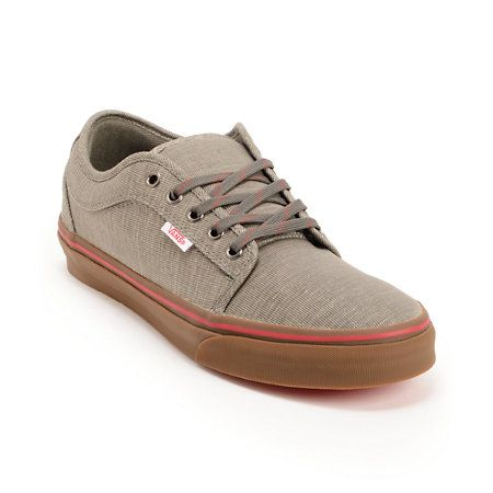 $65 The Vans Chukka Low skate shoes in the Grey Linen and Gum Zumiez Exclusive colorway are all about custom style