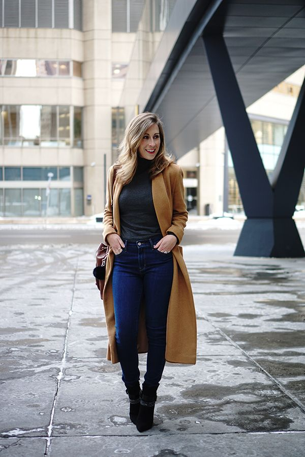 Levi's Skinny Jeans with Wool Camel Coat for the win! VelvetandVino.com #outfit #winteroutfit #skinnyjeans #highwaistjeans #levis #turtleneck