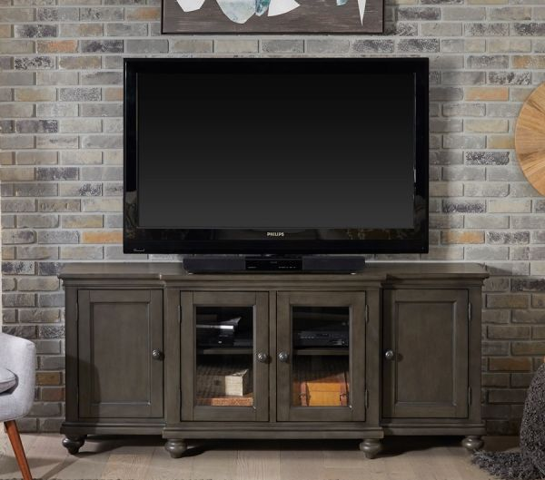Cherry Wood Oxford Collection 75 Step Back Tv Stand In Peppercorn