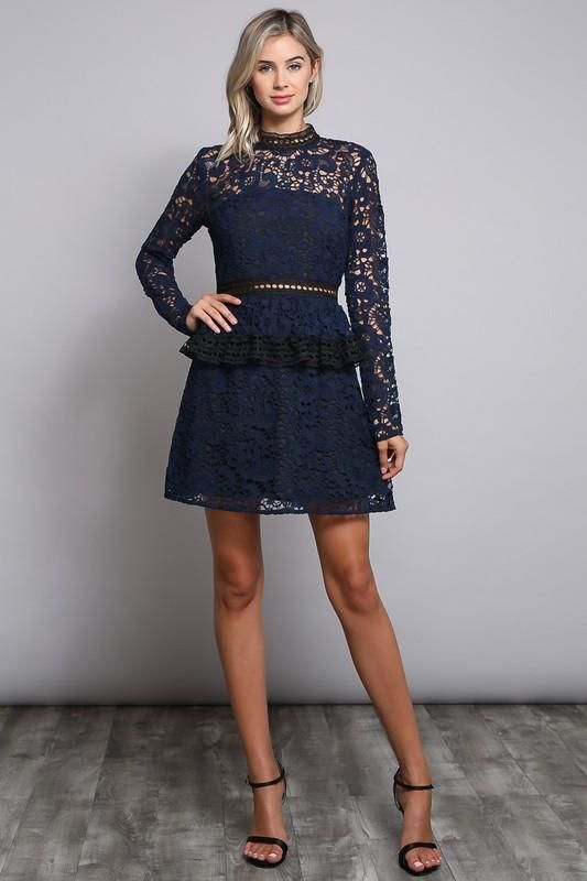 Wedding Guest Long Sleeves Lace Ruffle Bottom Knitted Navy Short Dress – Frugal Mughal