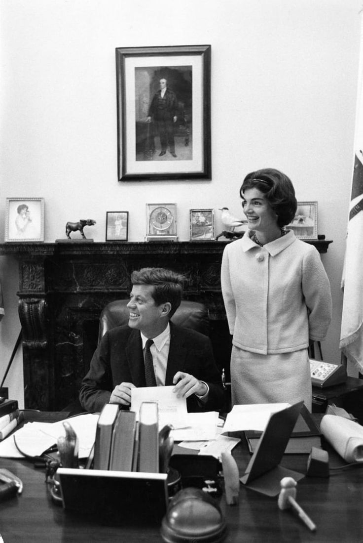 Senator and Mrs. John F. Kennedy, in Kennedy's Senate Office, 1959. Photograph (c) by Mark Shaw, all rights reserved.