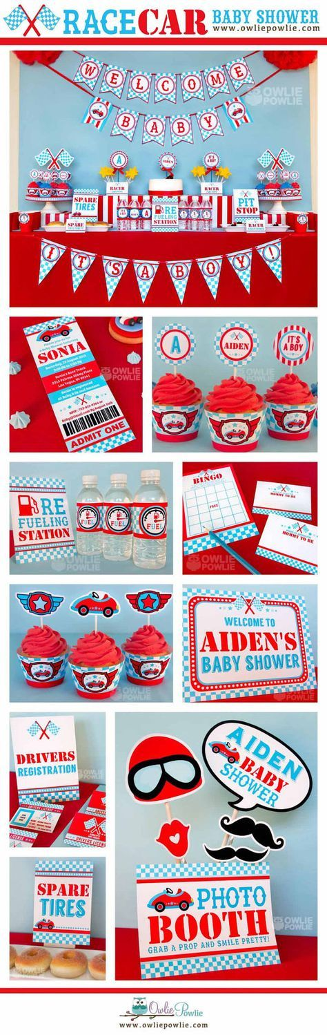 Blue Race Car BABY Shower Party Printable Package & Invitation, INSTANT DOWNLOAD, You Edit Yourself with Adobe Reader on Etsy, $29.00