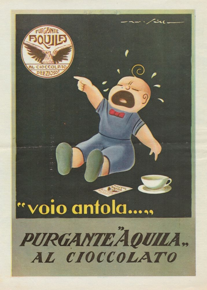 J0747 Purgante AQUILA al cioccolato - Pubblicità d'epoca - 1933 Old advertising