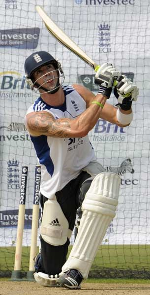 England's Kevin Pietersen hits out during a training session before Friday's second cricket test match against the West Indies at Trent Bridge cricket ground in Nottingham May 23, 2012.