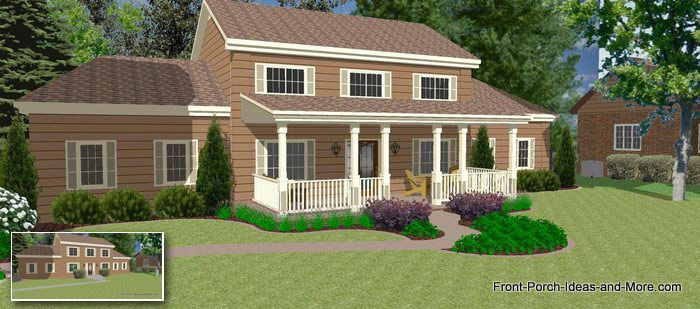 Great Front Porch Designs Illustrator On A Two Story Home