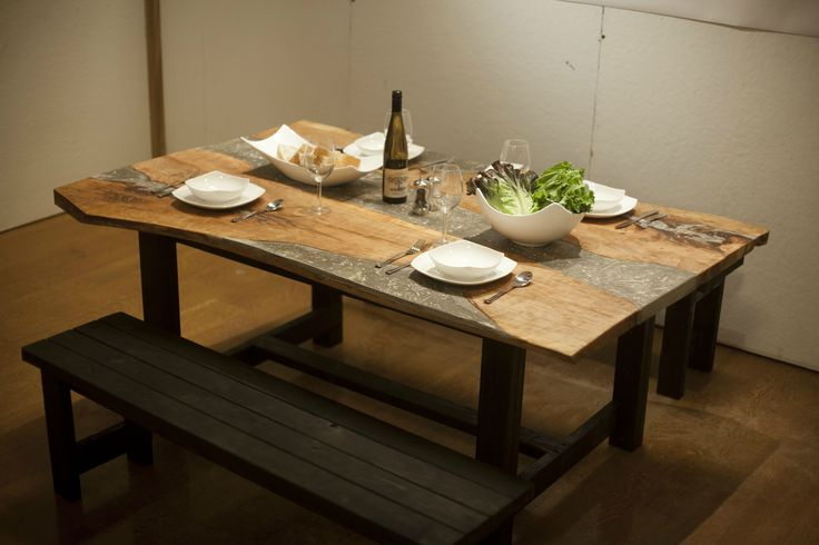 cherry and concrete dining table concrete dining table concrete and concrete wood. Black Bedroom Furniture Sets. Home Design Ideas