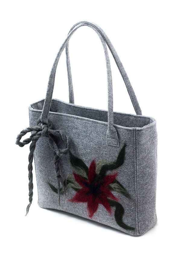 Handbag made from stiff felt with a bow and dry felted by Anardeko