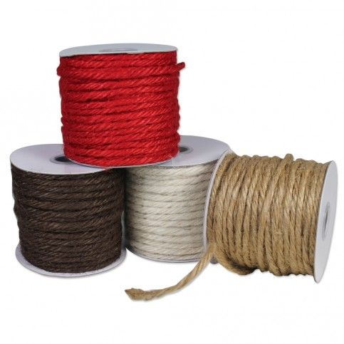 Colored Jute Cord is excellent for indoor or outdoor use. From gardening to gift wrapping, it handles easily, holds knots securely and is 100% bio-degradable. w/ a wide color selection, give your packages that naturally vintage look.